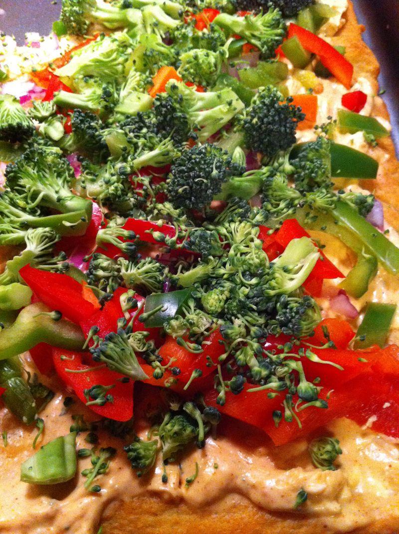 Veggie crescent roll pizza
