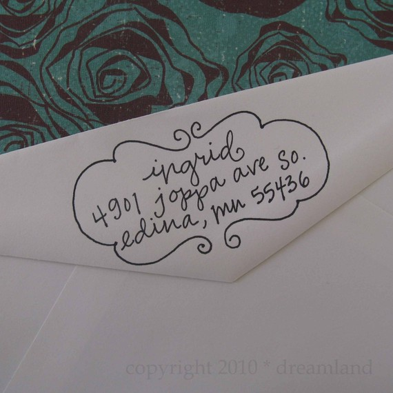 handwritten address stamp