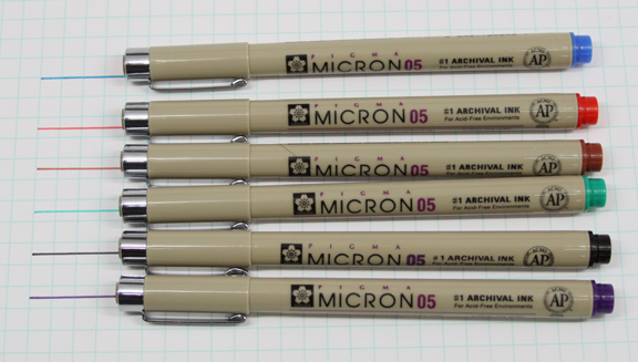 6 color archival pens